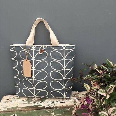Orla Kiely Grey Stem Non Insulated Large Lunch Bag Handmade