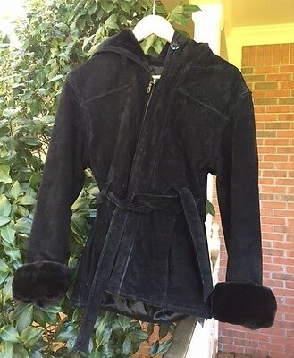 Wilsons Leather Black Jacket Coat Hooded Faux Fur Belted Womens Sz Medium M