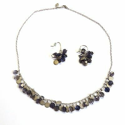 Me & Ro Sterling Silver Iolite Necklace Earrings Set