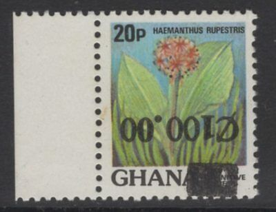 GHANA SG1262a 1988 100c on 20p SURCHARGE INVERTED MNH