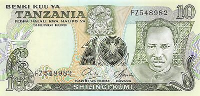 Tanzania  10/-  ND. 1978  P 6b  Series FZ  Uncirculated Banknote AF0517jK
