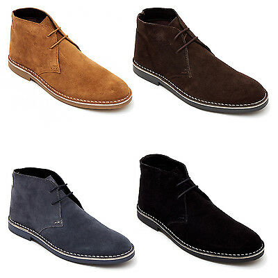 Mens Suede Plain Smart-Casual Ankle Comfy Lace Up Chukka Desert Boots