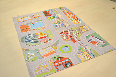Childrens small budget playmats roads towns railway train play rugs 75x100cm