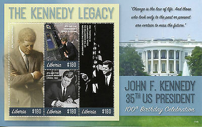 Liberia 2017 MNH JFK John F Kennedy 100th Bday 4v M/S III US Presidents Stamps