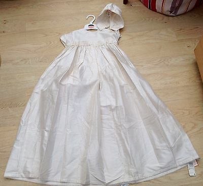 BNWT Marks & Spencer Ivory Silk Christening Robe & Bonnet. 18-24 M