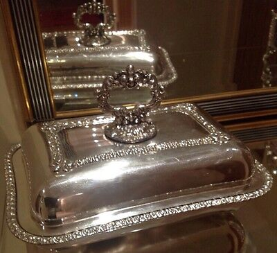 Antique Silver Plated Entree / Serving Dish With Ornate Fleur De Lis Decoration