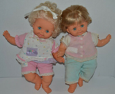"""Vintage 1989 Ideal BABY BUBBLES doll 16"""" Two Dolls in Original Outfits. Twins!"""