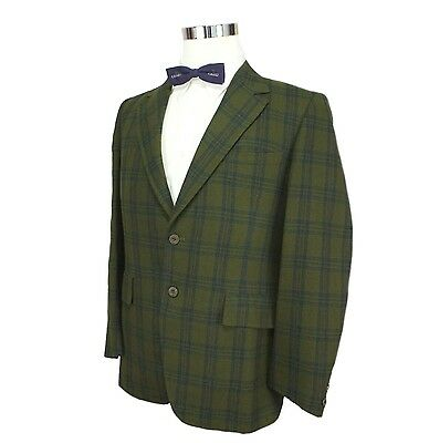 Vtg 60s Rockabilly Hipster Mod Office Green Blue Plaid 2 Button Sports Coat 38S