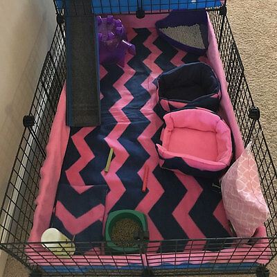 "Fleece bedding with 6"" sides pet cage fleece liner 3 layer for hedgehog, guinea"