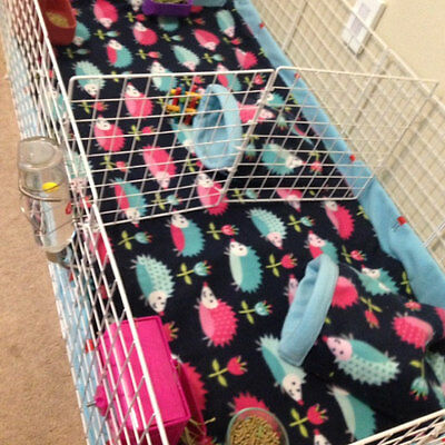 """Fleece cage liner with 6"""" sides midwest 24x48 cage 2 layers of fleece uhual"""