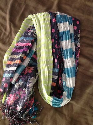 Girls Lot Of 2 Scarves Spring Summer Beach Pictures EUC