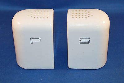 Contemporary Style Salt & Pepper shakers White with chrome or silver Letters