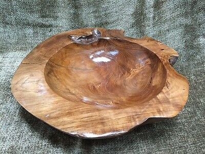 """Beautiful Rustic Country Hand Carved Burl Wood Bowl Centerpiece 11.75"""" Wood Art"""