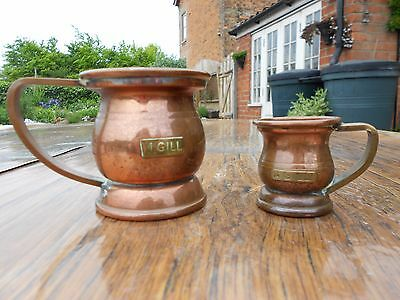 Collection of 7 Miniature Vintage Copper Items - Kettle, Gill Measures, Napkin R