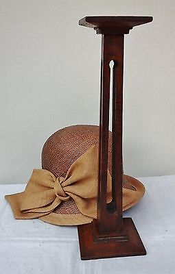 Vintage Original Oak Art Deco Hat Stand, Pierced Column, Millinery Shop Display.