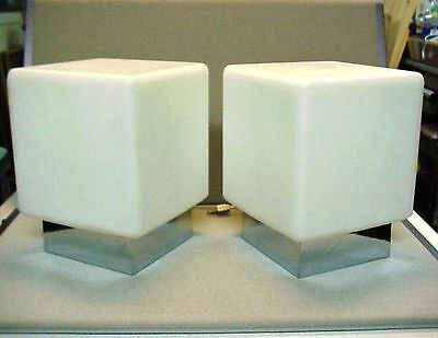 Vintage Pair SONNEMAN MID-CENTURY MODERN Square Glass Table Lamps w/ Labels RARE