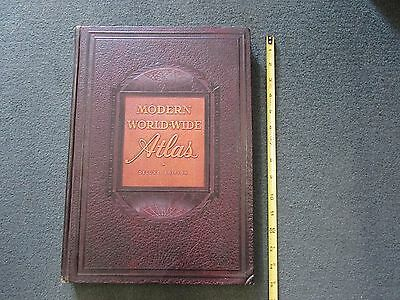 1949  MODERN WORLD WIDE ATLAS, DeLuxe Post-War 1st Edition, Physical, Pictorial