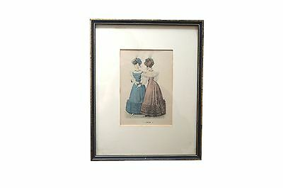 Vintage Print of Victorian Ladies in Formal Dress, Pink and Blue Vintage Fashion