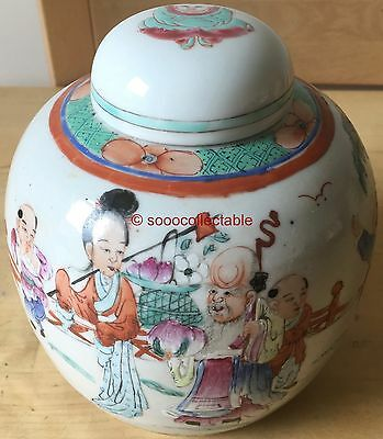 signed REPUBLICAN period CHINESE porcelain LIDDED GINGER JAR BOYS pattern