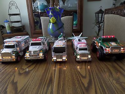 Hess Trucks lot of 5 with extra's