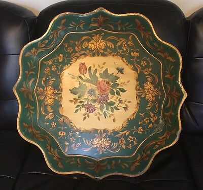 X Large Antique Tole Painted Tray - Chippendale Design Scalloped Floral & Gilt