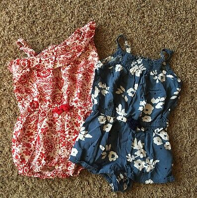 Lot Of Two-  Baby Girls Size 12 Months- Genuine Kids From OshKosh Summer Rompers