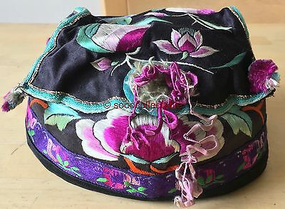 republican period CHINESE HAND EMBROIDERED SILK HAT with BELL