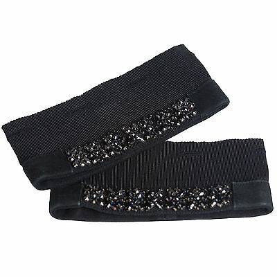 MAX MARA Womens Jazz Black Crystal Embellished Cube Collection Cuffs OS $265 NWT