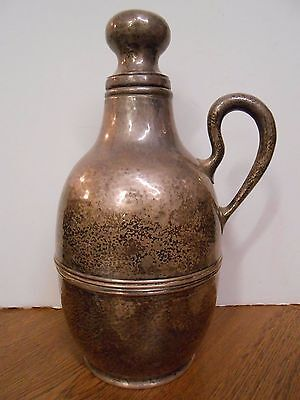 Vintage Mesick sterling silver glass lined hand hammered Thermos Carafe decanter