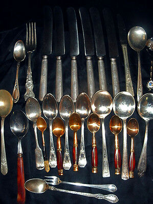 Vintage Mixed Lot of Flatware-Silverplate, Brass, Stainless
