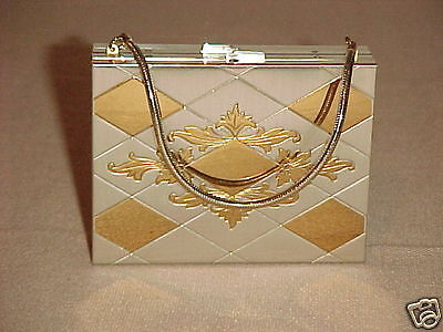 Vintage Art Deco Ladies Carryall Compact Mirror Lipstick Evening Bag
