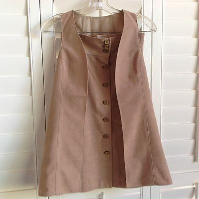 Homemade Handmade Vintage Lined Vest and Skirt ...Size S...Size 8-10 Beige