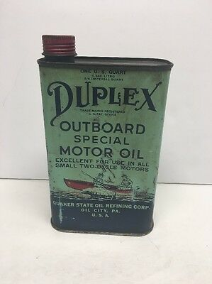 Duplex Outboard Motor Oil Can By Quaker State Oil Refining Corp. Oil City, PA