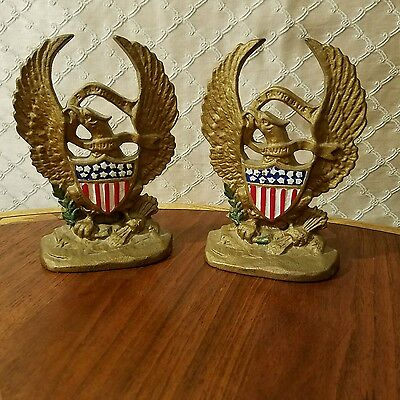 Vintage Hubley Cast Iron Patriotic Eagle and Shield Bookends #665