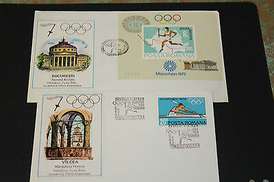 Romania1972 Munich Olympics  First Day Covers X 2