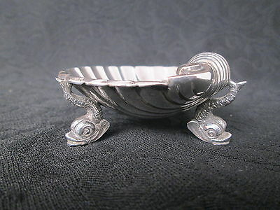 Salt Cellar shell dolphin footed scallop sterling 833 antique portuguese silver