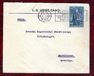 BELGIUM STAMPS- Centenary of Independence 1.75fr,cover to Sweden, 1930