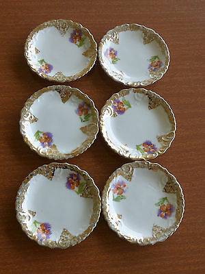 Mint! Set Of 6 Pretty Porcelain Dishes With Flowers! Very Shabby Chic!