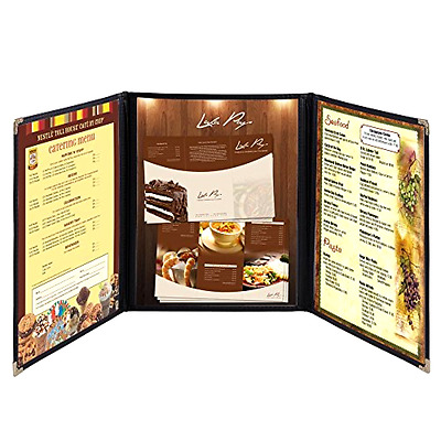 Hug Flight 30 Menu Cover 8.5X11 6 View Triple Fold Double Stitch Trim Cafe Resta