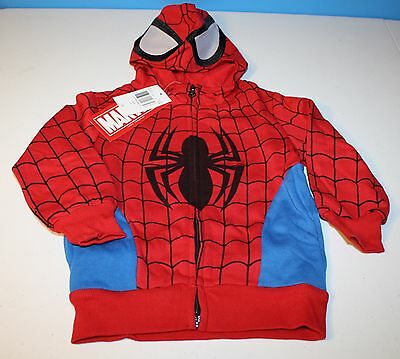 Cool Marvel Spiderman Hoodie Sweatshirt Zip-Up NWT New~Toddler Boys size 2T