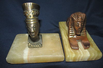Egyptian Statues Figurines Metal Pharoah & Sphynx on Marble Plinths A/F Chips