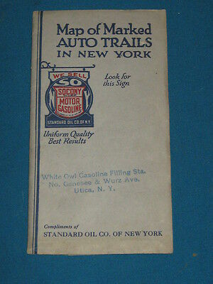 Vintage 1921 Socony Oil Auto Trails in New York Folding Road Map Rand McNally