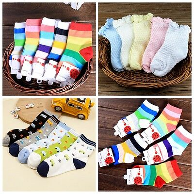 5 Pairs Socks Cute Toddlers Kids Boys Girls Soft Cotton Warm Rainbow Candy Color
