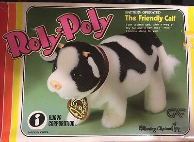 Roly-Poly THE FRIENDLY CALF Vintage 1983 COW TOY Iwaya Corp BATTERY OPERATED New