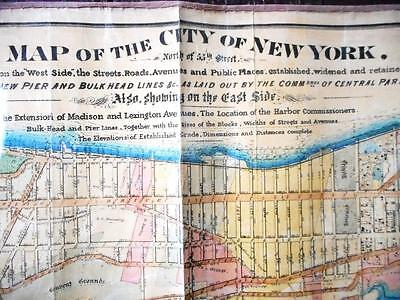 Large 1869 Map Of Manhattan New York City