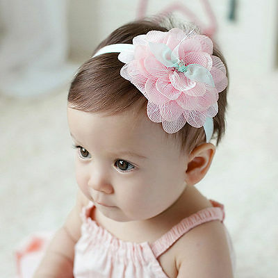 Toddler Newborn Baby Girl Lace Huge Flower Headband Hair Band Hair Accessories