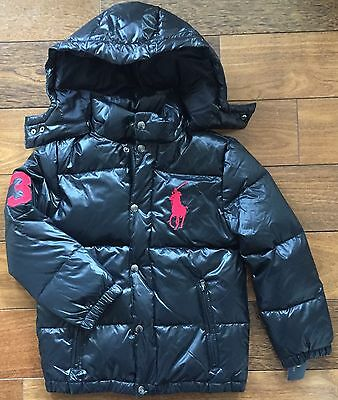 POLO RALPH LAUREN $175 Boys Down Puffer Jacket Hooded Black Big Pony Red 14-16