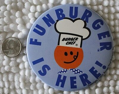 1972 Burger Chef Funburger Is Here Vintage 4 Inch Pinback Button #BB1752