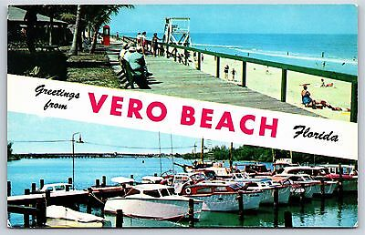 Greetings from Vero Beach, Florida Indian River County Chrome Postcard Unused