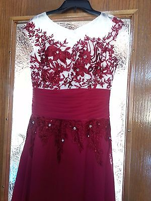 Women's Raspberry Formal Long Gown Party Prom Bridesmaid Evening Dress Size 12